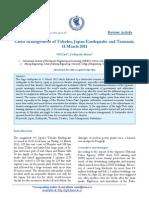 Crisis Management of Tohoku; Japan Earthquake and Tsunami, 11 March 2011