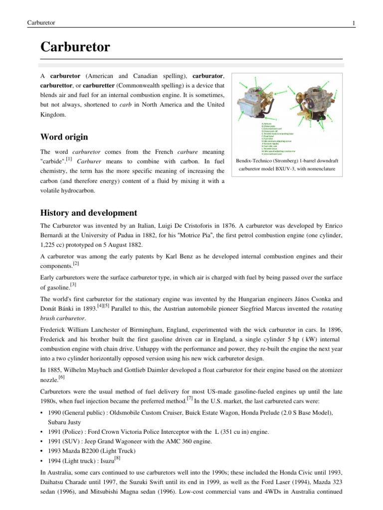 Fundamentals of Carburetor | Carburetor | Throttle