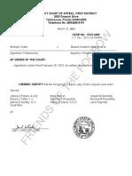 FL DCA 2013-03-22 Order Denying Motion for Written Opinion