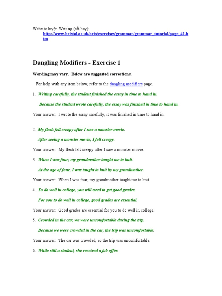 Dangling Modifiers Linguistic Typology – Misplaced Modifiers Worksheet