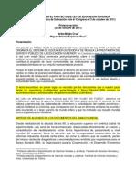 Nelba Millan Miguel Espinosa - Notas Para Leer El Proyecto de Ley de ES 03-Oct-2011