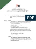 Christopher McCreary Resume (2013)