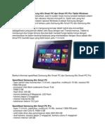 Spesifikasi Harga Samsung Ativ Smart PC Dan Smart PC Pro Tablet Windows 8