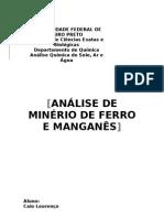 RELATÓRIO ANÁLISE DE MINÉRIO DE FERRO E MANGANÊS