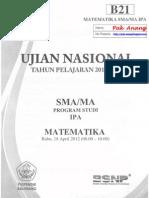 Pembahasan Soal UN Matematika SMA Program IPA 2012 Paket B21 Zona D