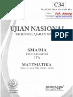Pembahasan Soal UN Matematika SMA Program IPA 2012 Paket C34 Zona D