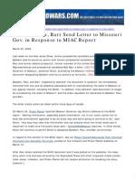 Paul, Baldwin, Barr Send Letter to Missouri Gov. in Response to MIAC Report