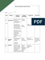 Sample Lesson Plan for a 60 Min Full