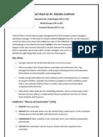 Critical Chain Book Summary (Avijit, Mohit, Paritosh)