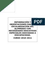 Documento de Modalidades de Escolarizacion Curso 2010-11
