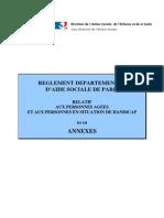 PARIS règlement departemental d'aide sociale RDAS annexe