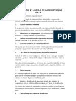 QUESTIONÁRIO 2 - ADMINISTRAÇÃO
