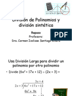 División de Polinomios y división sintética
