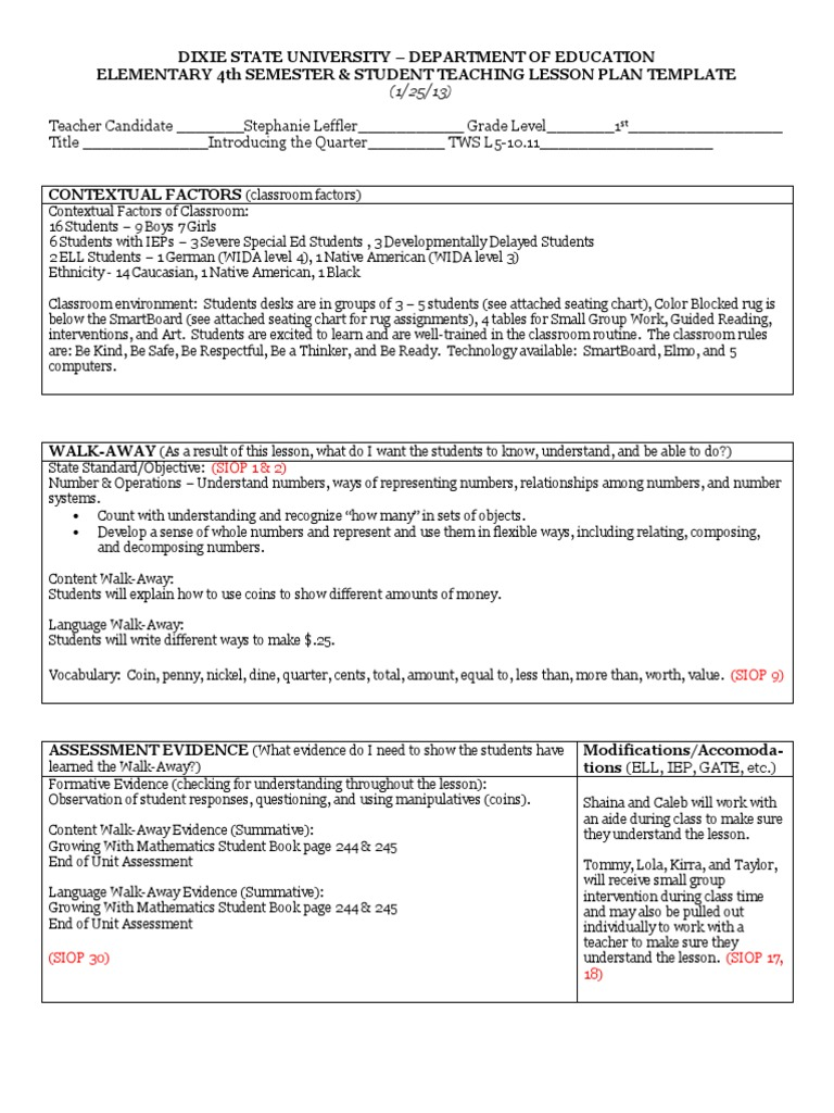 Tws Lesson Introducing The Quarter Educational Assessment - Reading intervention lesson plan template