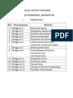 Jadual Aktiviti Tahunan Badminton