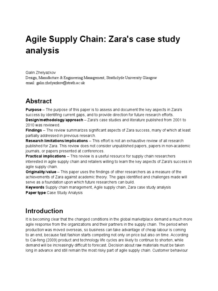 agile supply chain zaras case study analysis