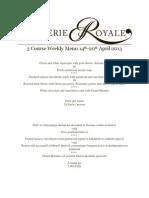 Weekly Menu Brasserie 14th-20th April 2013