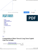 Computation of Short Term & Long Term Capital Gain Tax in India