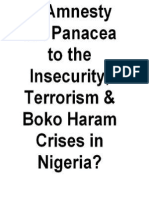 Is Amnesty the Panacea to the Insecurity, Terrorism & Boko Haram Crises in Nigeria?