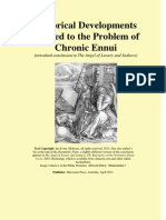 Historical Developments Related to the Problem of Chronic Ennui