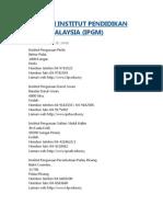 Senarai Institut Pendidikan Guru Malaysia
