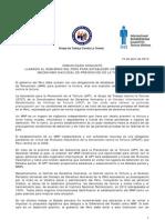 15ABR13 Comunicado Conjunto Grupo de Trabajo Contra la Tortura