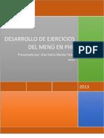 DESARROLLO DE EJERCICIOS DEL MENÚ EN PHP