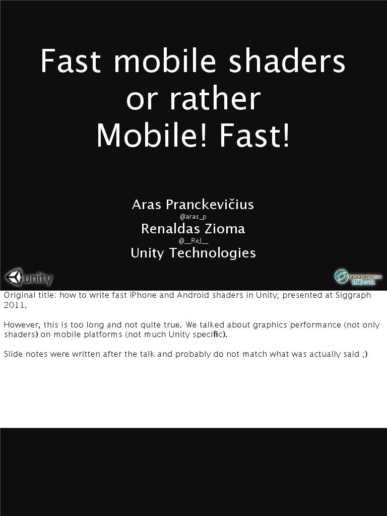 FastMobileShaders_siggraph2011 | Shader | Graphics