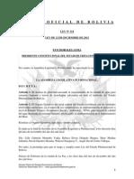 Ley 318 Se declara de prioridad nacional el mejoramiento de la calidad de agua para consumo humano a través de tecnologías adecuadas en todo el territorio de Bolivia