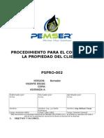 1) Proc. Para El Control de Htas Que Son Propiedad Del Cliente PSPRO-002