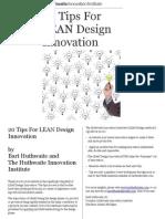 20 Tips for LEAN Design Innovation