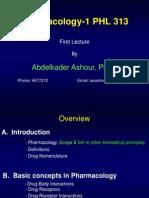 PHL 313 Pharmacology 1st St. NEW
