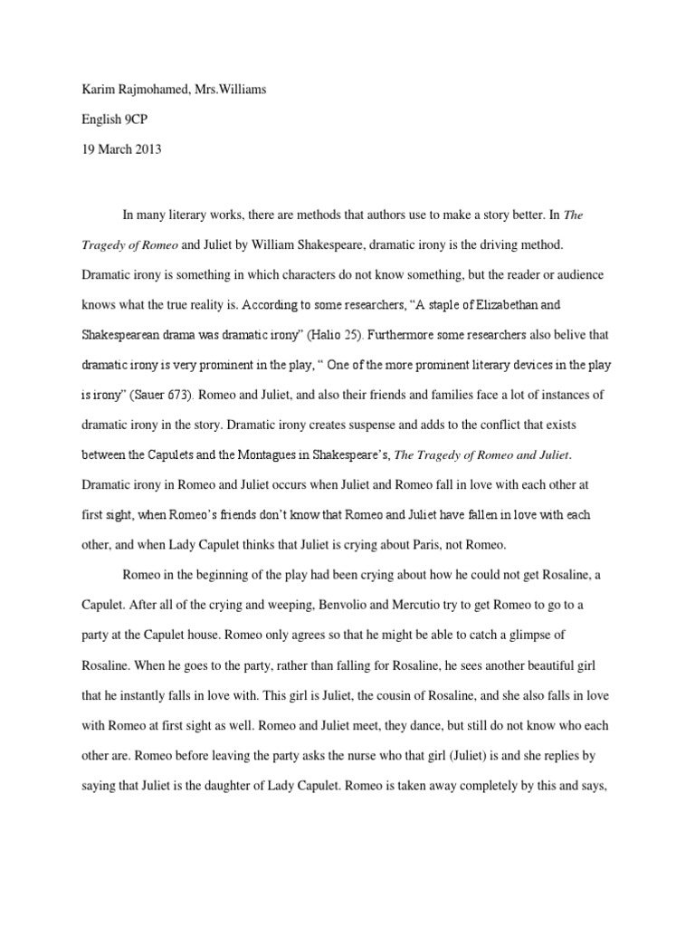 romeo and juliet paragraph essay