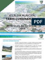 Memorias de Gestion Tabio 2008