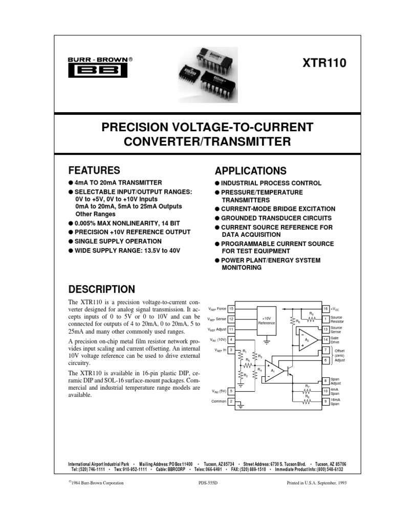 Xtr110 1611 Operational Amplifier Transistor Regulated Power Supply Circuit Using 741 Op Amp Ic And 2n3055