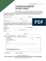 Auto Deposit Form