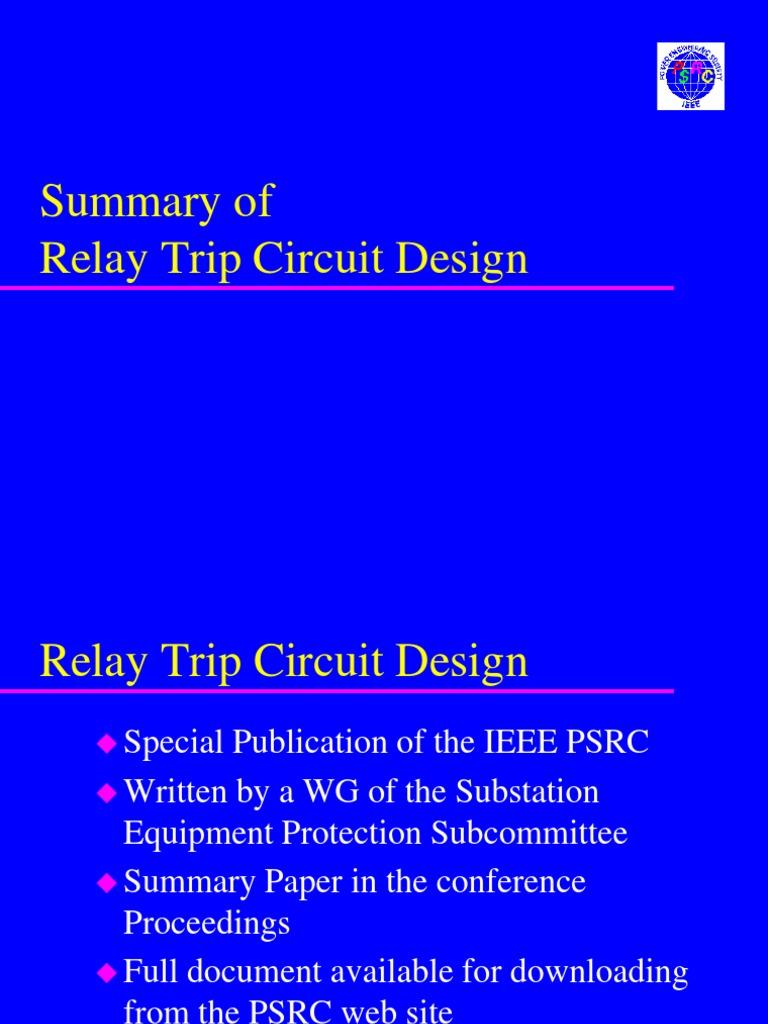Ieee Relay Trip Circuit Design Best Secret Wiring Diagram Inverter C16 Electrical Substation Rh Scribd Com Crystal
