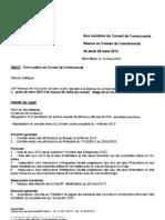 Ordre Du Jour Conseil Communautaire Du Jeudi 28 Mars 2013