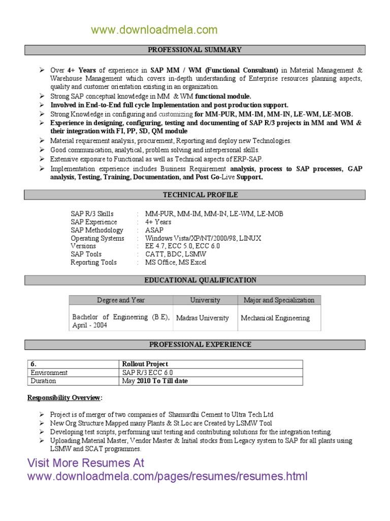Sap Sd Mm Functional Consultant Resume Pdf Sap Se Business Process