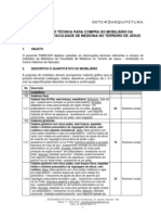 INFORMAÇÕES TÉCNICAS PARA COMPRA DE MOBILIARIO