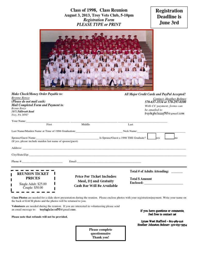 class of 1998 reunion registration form payments money