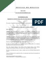 Ley 322 Ratificación del Tratado de Extradición entre Bolivia y los Estados Unidos Mexicanos