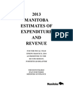 2013 MANITOBA ESTIMATES OF EXPENDITURE AND REVENUE