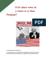 ¿Podría EE.UU colocar armas de destrucción masiva en el Chaco Paraguayo?-José Alejandro Sánchez Riveros
