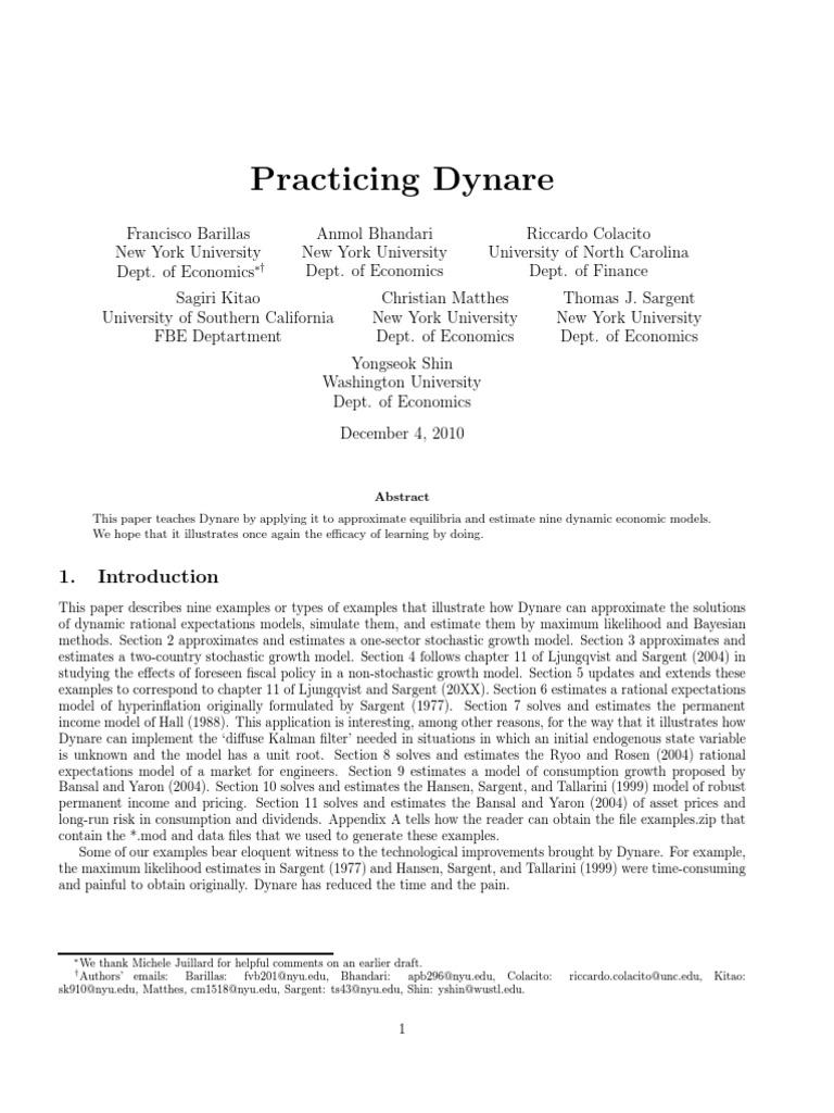 Sargent T , Et  Al (2010) - Practicing Dynare   Endogeneity