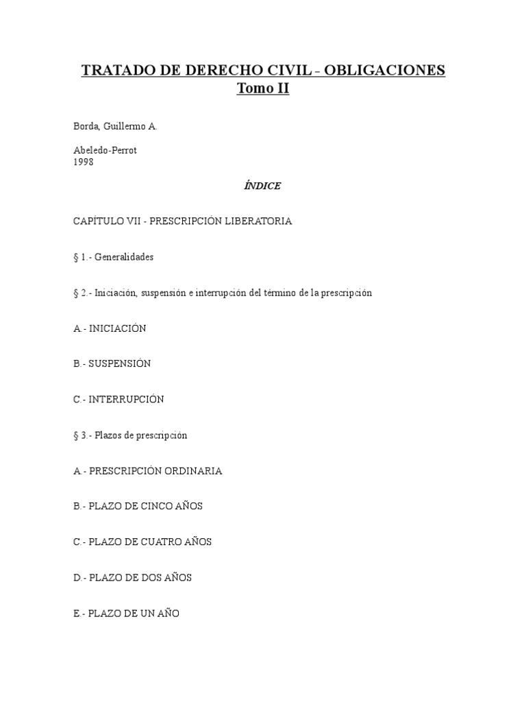 Borda, Guillermo - Tratado de Derecho Civil - Obligaciones - Tomo 2