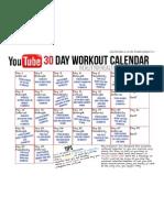 Youtube Workout Calendar