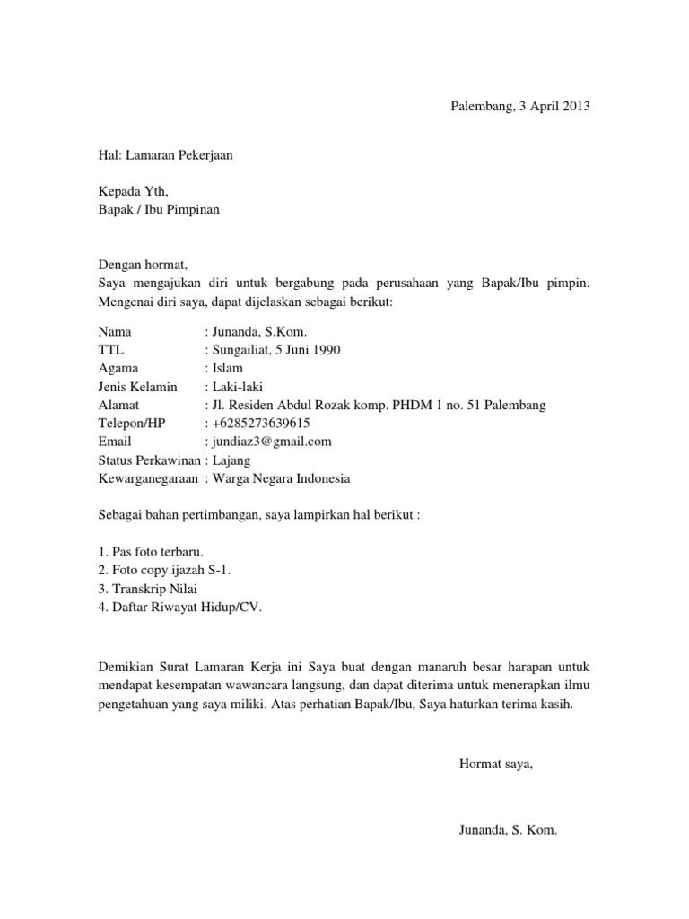 Contoh Surat Lamaran Kerja Di Notaris