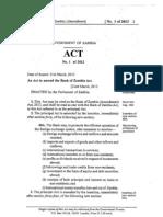 Bank of Zambia Act No. 1 of 2013