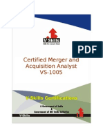 Certified Merger and Acquisition Analyst Brochure